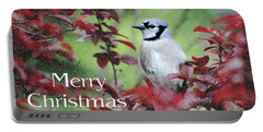 Christmas And Blue Jay Portable Battery Charger by Trina Ansel