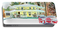 Portable Battery Charger featuring the painting Christmas At The Hexagon House by LeAnne Sowa