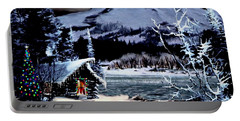 Christmas At The Lake V2 Portable Battery Charger by Ron Chambers