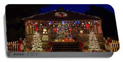 Christmas At The Lighthouse Gazebo Portable Battery Charger by Greg Graham