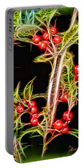 Portable Battery Charger featuring the photograph Christmas Berries by EricaMaxine  Price