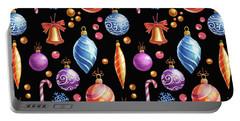 Christmas Bulbs On Black Portable Battery Charger