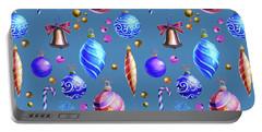 Christmas Bulbs On Blue Portable Battery Charger