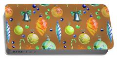 Christmas Bulbs On Orange II Portable Battery Charger