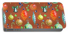 Christmas Bulbs On Orange Portable Battery Charger