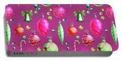 Christmas Bulbs On Pink Portable Battery Charger