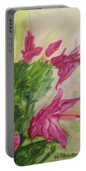 Portable Battery Charger featuring the painting Christmas Cactus by Wendy Shoults