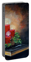 Portable Battery Charger featuring the painting Christmas Candles by Alan Lakin