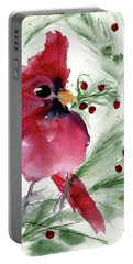 Portable Battery Charger featuring the painting Christmas Cardinal by Dawn Derman