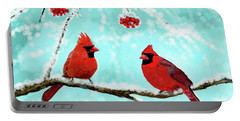 Portable Battery Charger featuring the painting Christmas Cardinals by Leslie Allen