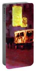 Portable Battery Charger featuring the painting Christmas Carriage Ride In Vienna by Menega Sabidussi