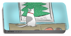 Christmas Cat Portable Battery Charger by Haleh Mahbod