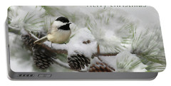 Portable Battery Charger featuring the photograph Christmas Chickadee by Lori Deiter