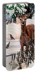 Christmas Deer Friends Portable Battery Charger by Jennifer Lake