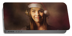 Portable Battery Charger featuring the photograph Christmas Disco Dj Woman by Jorgo Photography - Wall Art Gallery