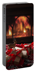 Christmas Gifts By The Fireplace Portable Battery Charger