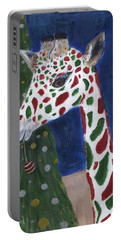 Portable Battery Charger featuring the painting Christmas Giraffe by Jamie Frier