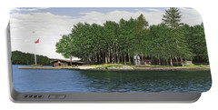 Portable Battery Charger featuring the painting Christmas Island Muskoka by Kenneth M Kirsch
