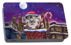 Christmas Koala In Chimney Portable Battery Charger by Remrov