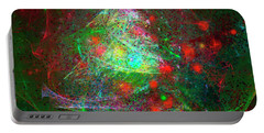 Portable Battery Charger featuring the digital art Christmas Lights And Tree by Russell Kightley