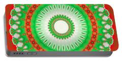 Christmas Mandala Fractal 002 Portable Battery Charger