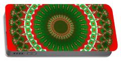 Christmas Mandala Fractal 004 Portable Battery Charger
