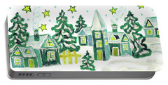 Christmas Picture In Green Portable Battery Charger by Irina Afonskaya