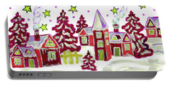 Christmas Picture In Red Portable Battery Charger