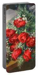 Christmas Red Roses Portable Battery Charger