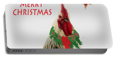Portable Battery Charger featuring the photograph Christmas Rooster Tee-shirt by Donna Brown