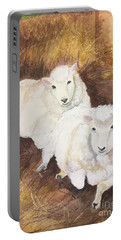 Portable Battery Charger featuring the painting Christmas Sheep by Lucia Grilletto