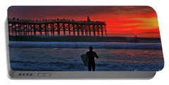 Christmas Surfer Sunset Portable Battery Charger