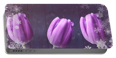 Christmas Tulips On Wood Portable Battery Charger