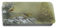 Christmas With The Goldfinches Portable Battery Charger