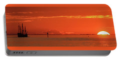 Christopher Columbus Sailing Ship Nina Sails Off Into The Sunset Panoramic Portable Battery Charger