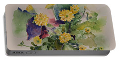 Chrysanthemum Flowers Still Life In Watercolor Portable Battery Charger
