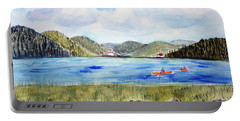 Portable Battery Charger featuring the painting Chrystal Lake  Barton Vt  by Donna Walsh