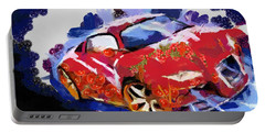 Portable Battery Charger featuring the painting Chubby Car Red by Catherine Lott