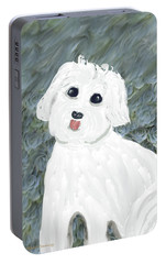 Portable Battery Charger featuring the painting Chubby Puppy by Rosalie Scanlon