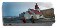 Portable Battery Charger featuring the photograph Church Above Reynisfjara Black Sand Beach, Iceland by Dubi Roman