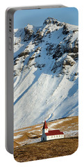 Portable Battery Charger featuring the photograph Church And Mountains In Winter Vik Iceland by Matthias Hauser
