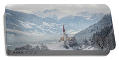 Church In Alpine Zillertal Valley In Winter Portable Battery Charger