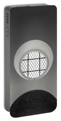 Church Window In Black And White Portable Battery Charger