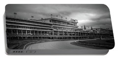 Churchill Downs Racetrack In Black And White Portable Battery Charger