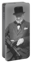 Churchill Posing With A Tommy Gun Portable Battery Charger by War Is Hell Store