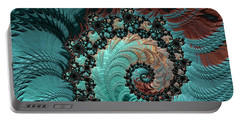 Portable Battery Charger featuring the digital art Churning Sea Fractal by Bonnie Bruno
