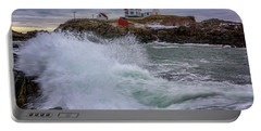 Portable Battery Charger featuring the photograph Churning Seas At Cape Neddick by Rick Berk