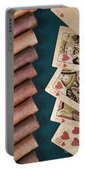 Portable Battery Charger featuring the photograph Cigars And Playing Cards  by Andrey  Godyaykin
