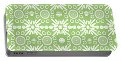 Cilantro- Green And White Art By Linda Woods Portable Battery Charger