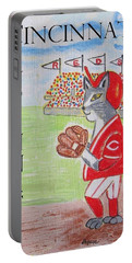 Portable Battery Charger featuring the painting Cinci Reds Cat by Diane Pape